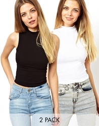 Asos Crop Top With Turtle Neck 2 Pack Save 19 Blackwhite