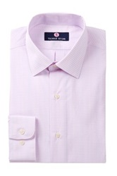 Alexander Julian Check Print Long Sleeve Regular Fit Shirt Pink