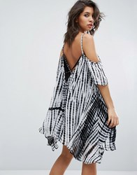 Religion Cold Shoulder Dress In Tie Dye White