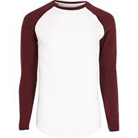 River Island Mensbig And Tall White And Red Raglan T Shirt