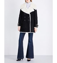 Burberry Norhurst Suede And Shearling Coat Black
