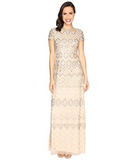 Adrianna Papell New Tribal Long T Shirt Gown Champagne Gold Women's Dress Beige