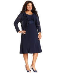R And M Richards Plus Size Sleeveless Embroidered Dress And Jacket Navy