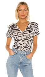 Rails Cara Tee In Black And White. Ivory Tiger Stripe