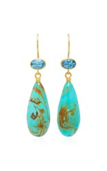 Mallary Marks Apple And Eve 18K Gold Aquamarine And Turquoise Earrings Blue