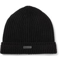 Belstaff Aldergrove Ribbed Virgin Wool And Cashmere Blend Beanie Black