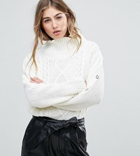Missguided Cable Knit Popper Sleeve Jumper Cream