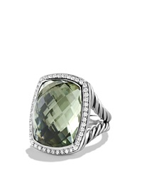 David Yurman Albion Ring With Prasiolite And Diamonds Silver Green