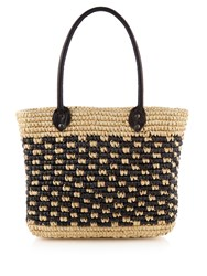 Sensi Studio Toquilla Straw Tote Black Cream