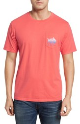 Southern Tide School Of Sharks Crewneck Cotton T Shirt Sunset Coral