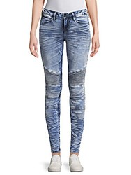 Robin's Jean Whiskered Moto Jeans Blue
