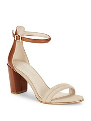 Saks Fifth Avenue Lex Suede And Leather Sandals Taupe