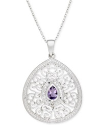 Victoria Townsend Sterling Silver Necklace Amethyst And Diamond Accent Tear Drop Pendant
