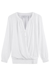 Velvet Draped Blouse White