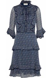 Mikael Aghal Pussy Bow Ruffle Trimmed Floral Print Chiffon Dress Navy