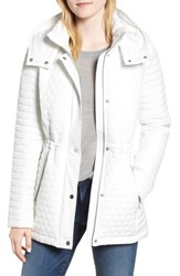 Andrew Marc New York Honeycomb Quilted Jacket White