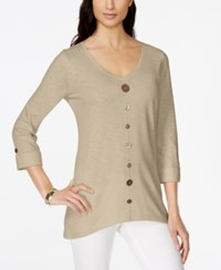 Jm Collection V Neck Mixed Button Top Only At Macy's