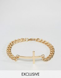 Reclaimed Vintage Bracelet In Gold Chain With Cross Gold