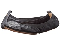 Yosi Samra Samantha Tuscany Leather Fold Up Flat W Contrast Captoe Black Pewter Women's Shoes