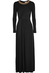 Michael Michael Kors Twist Front Studded Stretch Jersey Maxi Dress Black