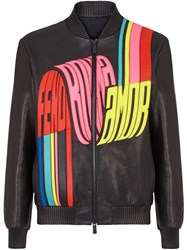 Fendi Wave Logo Bomber Jacket Black