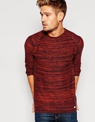 Blend Of America Blend Crew Knit Jumper Slim Fit Melange Rustyred