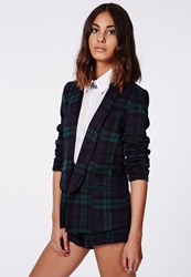 Missguided Green Tartan Tailored Blazer Green