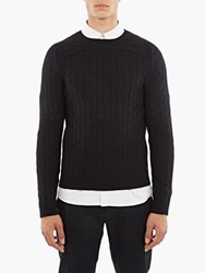 A.P.C. Navy River Extra Fine Merino Round Neck Sweater Blue