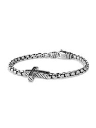 David Yurman Pave Black Diamond Cross Bracelet Silver