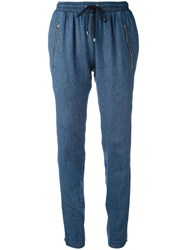 Vanessa Bruno Drawstring Trousers Women Cotton Linen Flax Elastodiene Lyocell 38 Blue