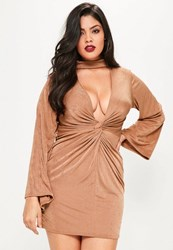 Missguided Plus Size Brown Choker Neck Knot Detail Slinky Dress