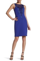 Sue Wong Sleeveless Embellished Dress Blue