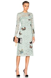 Valentino Long Sleeve Embroidered Dress In Green