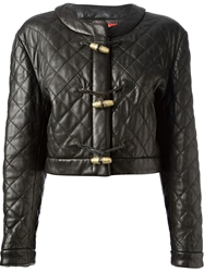 Moschino Vintage Quilted Leather Jacket Black