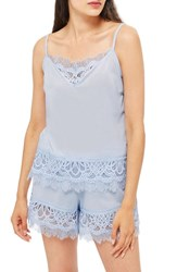 Topshop Lydia Lace Camisole Light Blue