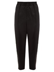 Y 3 Wide Leg Wool Satin Track Trousers Black White