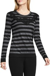 Vince Camuto Women's Lace Trim Stripe Sweater
