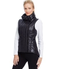 Betsey Johnson Asymmetrical Quilted Puffer Vest Black