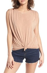 Sun And Shadow Women's Cinched Sleeve Tee Pink Fawn