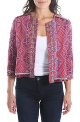 Kut From The Kloth Gwyneth Embellished Collarless Jacket Berry Wine