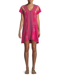 Johnny Was Vella Easy Knit Short Sleeve Tunic Dress Plus Size Mob Pink