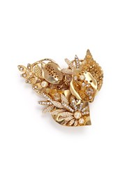 Miriam Haskell Beaded Baroque Pearl Large Leaf Brooch Metallic