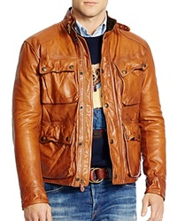 Polo Ralph Lauren Southbury Leather Bike Jacket Sporting Brown