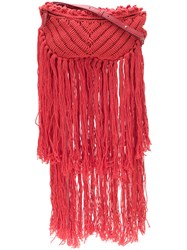 Stella Mccartney Woven Fringe Bag Red