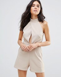 Oh My Love Choker Detail Jumpsuit Stone Beige