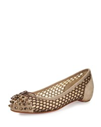 Christian Louboutin Mix Knotted Red Sole Ballerina Flat Greige Grege