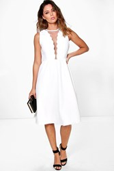 Boohoo Lai Scallop And Mesh Neckline Skater Dress Ivory