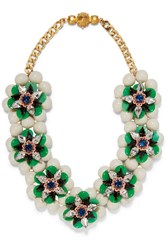 Shourouk Narcis Gold Tone Bead And Crystal Neckalce Green