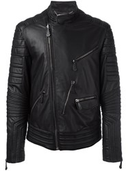 Philipp Plein Ribbed Panel Biker Jacket Black
