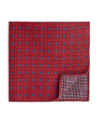 Bloomingdale's The Men's Store At Double Sided Plaid And Floral Print Pocket Square Red Blue